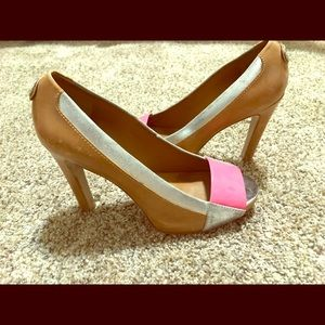 Tory Burch heels with pink patent and metallic 8.5